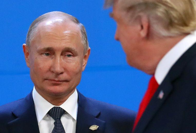 De Russische president Vladimir Poetin met Donald Trump op de G20-top in Buenos Aires, Argentinië.