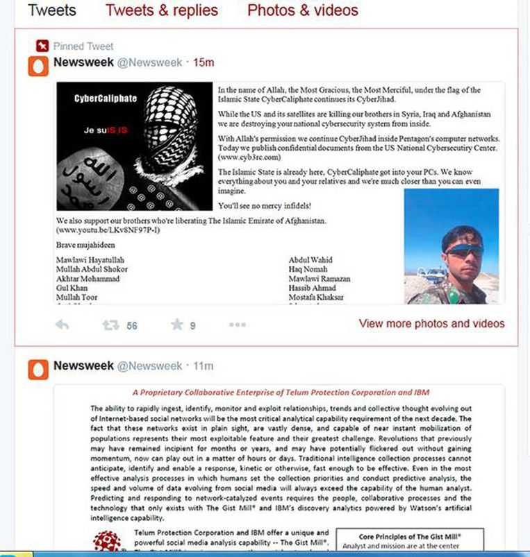 Screenshot van Newsweek-hack door Cyber Caliphate.