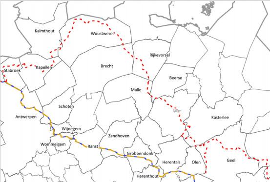 Het noordelijk tracé van de pijpleiding (rode stippellijn) doorkruist Lille.