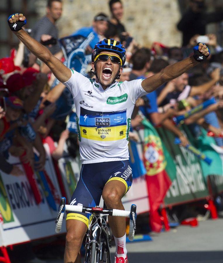 Contador gooide er een stevige schreeuw tegenaan Beeld AFP