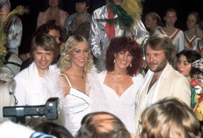 Het succes voor ABBA begon toen ze in 1974 het Eurovisie Songfestival wonnen met het nummer 'Waterloo'. Vlnr: Björn Ulvaeus, Agnetha Fältskog, AnniFrid Lyngstad en Benny Andersson.