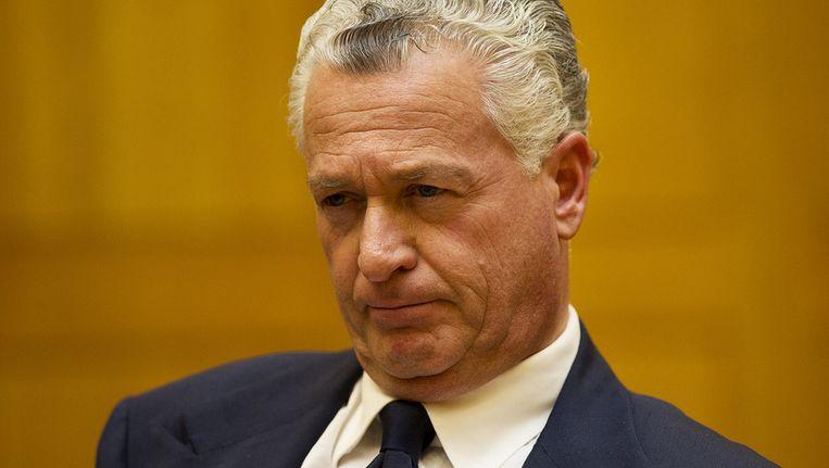 Bram Moszkowicz hoort het oordeel van de tuchtrechter aan. Moszkowicz is definitief uit de advocatuur gezet. Beeld anp