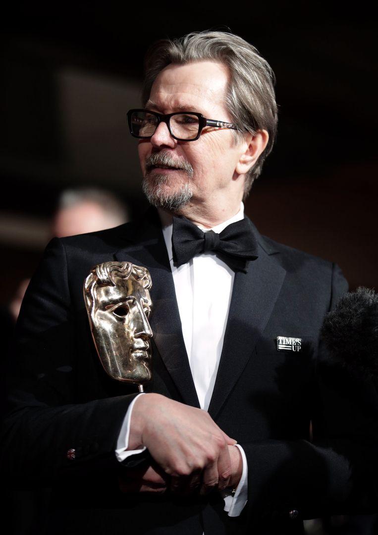 Gary Oldman heeft al een Bafta voor 'Darkest Hour'. Nu nog een Oscar. Beeld Photo News