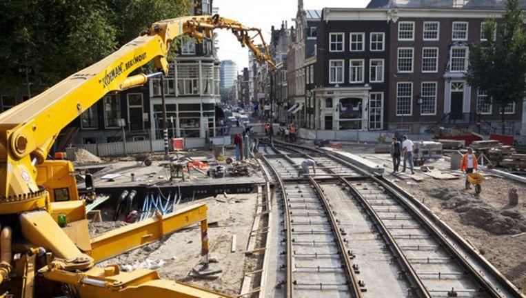 Werkzaamheden op de Herengrachtbrug bij de Utrechtsestraat. Foto Marc Driessen Beeld