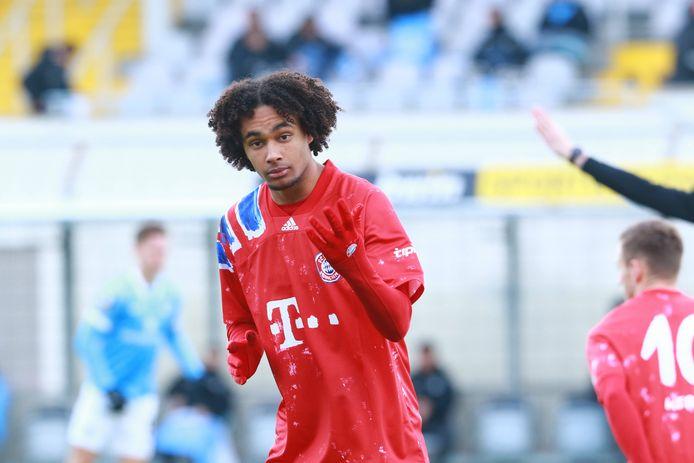 Joshua Zirkzee tijdens Bayern München II - 1860 München (0-2) zaterdag.