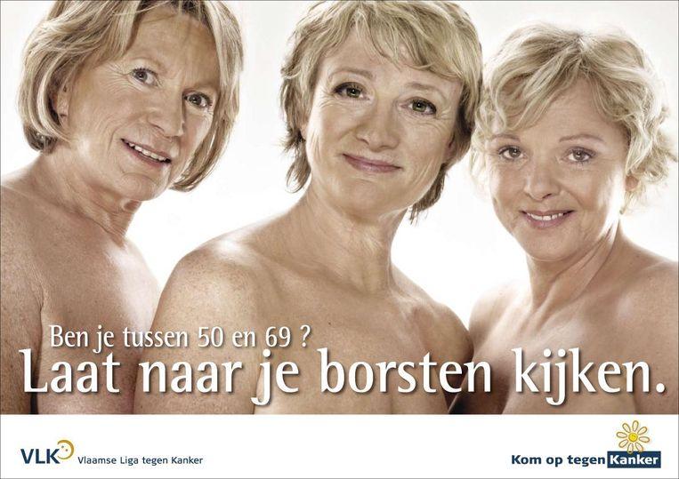 Met Chris Lomme en An Nelissen voerde Martine Tanghe, zelf slachtoffer van borstkanker, campagne voor Kom Op Tegen Kanker. Beeld VRT