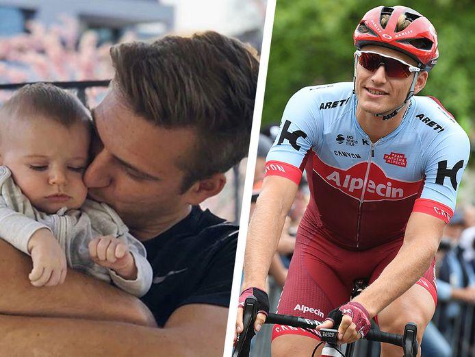 Kittel met zijn zoontje Lex (links). Rechts Kittel in zijn tijd als renner.