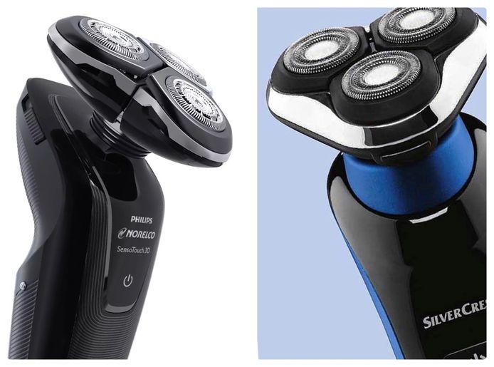Hier draait het om bij het scheerapparatenruzie tussen Philips en Lidl: links de Philips SensoTouch 3D en rechts de Silvercrest van Lidl.