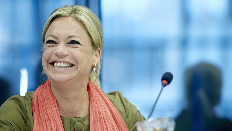 Minister van Defensie Jeanine Hennis-Plasschaert tijdens het overleg over het veteranenbeleid. Beeld anp