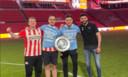 Manuel Bachoore, Ali Riza Aygün, Dennis Verhoeven en Romal Abdi grepen voor PSV de landstitel in de e-divisie.