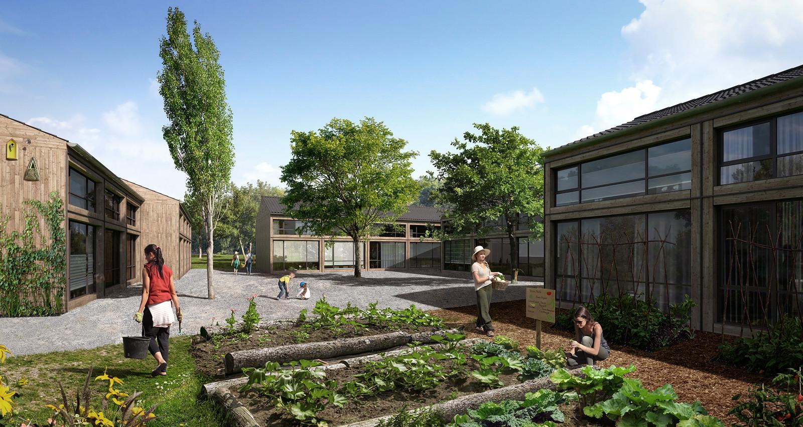 Impressie van buurtschap Te Veld, met 700 tijdelijke woningen, dat moet verrijzen aan de Castiliëlaan in Eindhoven.