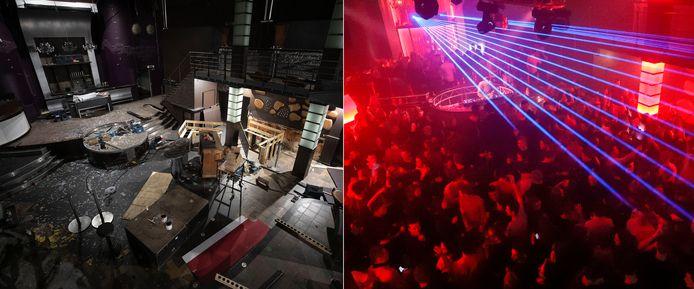 Discotheek El Sombrero nu (links) en op archiefbeeld (rechts).
