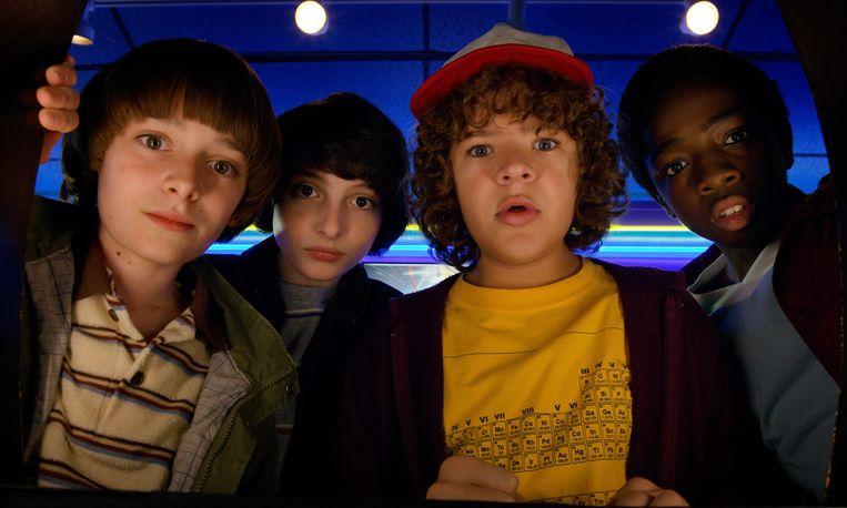 Noah Schnapp, Finn Wolfhard, Gaten Matarazzo en Caleb Mclaughlin in Stranger Things. Beeld AP