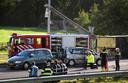 Het ongeluk op de A7 vlak bij het Friese Joure.