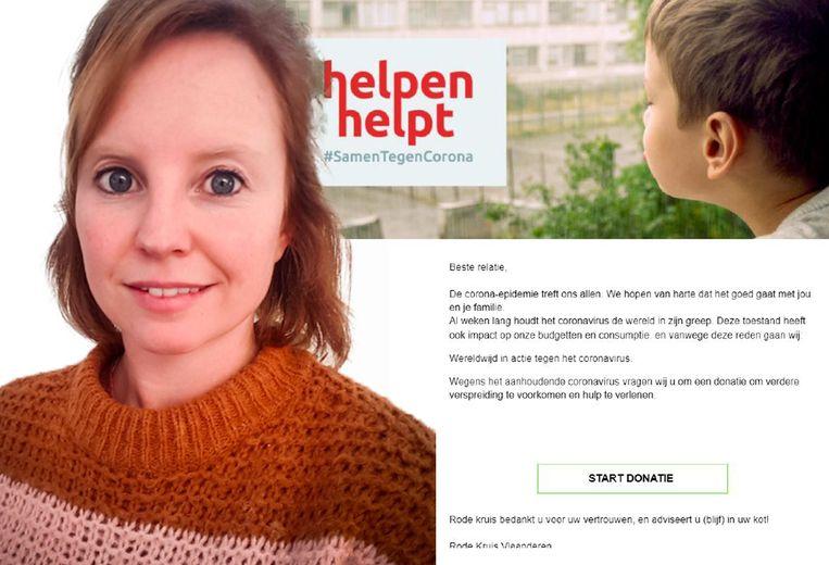 """Woordvoerster Ine Tassignon (links): """"Rode Kruis vraagt in e-mails nooit via een button om geld."""""""