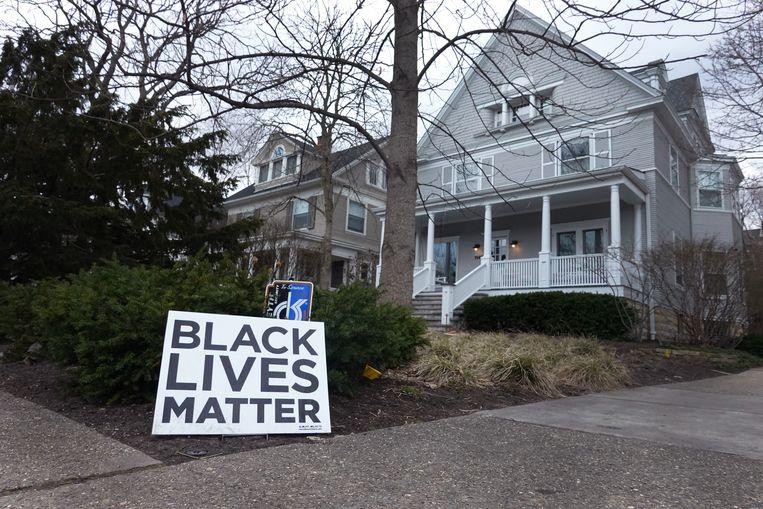 Een Black Lives Matter-bord voor een huis in Evanston. Beeld Getty Images