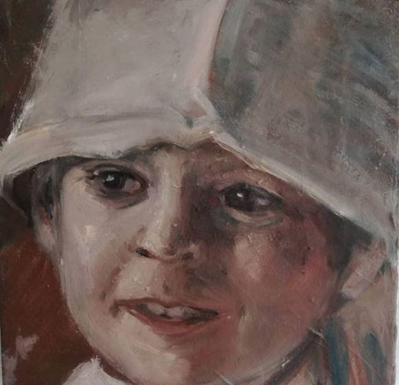 Els Moerenhout portretteerde zonder het te weten de zoon van de Amerikaanse Jennifer Brinton Robcin waarmee die al jaren geen contact meer heeft.