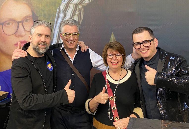 Lieven De Clercs en Christa Vanden Brande met Andy en Wolfgang, de oprichters van Andy Wolf.