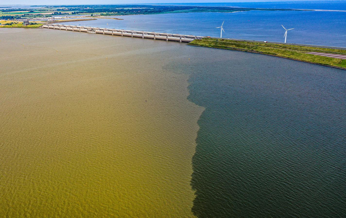 Het water van het Haringvliet kleurt geel door het water wat naar zee stroomt afkomstig van de overstromingen in Limburg en Duitsland.