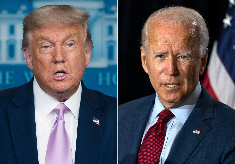Donald Trump (links) en Joe Biden (rechts). Beeld AP
