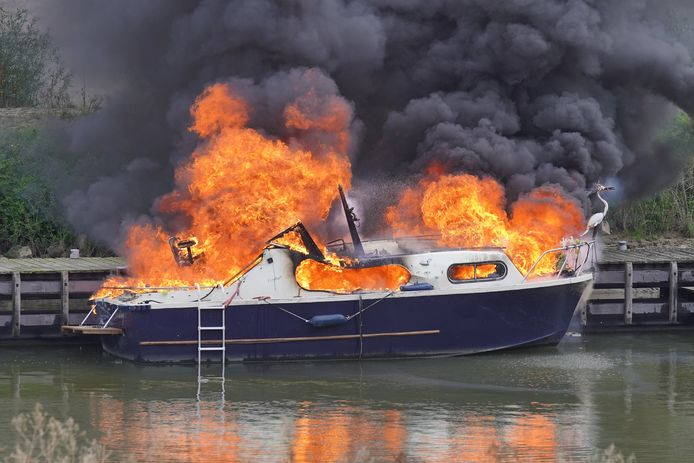 Een plezierboot is uitgebrand in de Lindenberghaven in Nijmegen. Een Duitser en zijn hond raakten gewond.