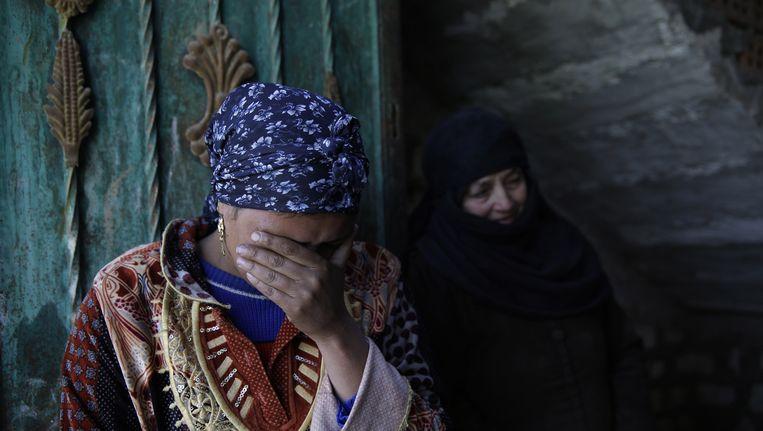 Nabestaanden van de gedode koptische christenen uit Egypte. Beeld ap