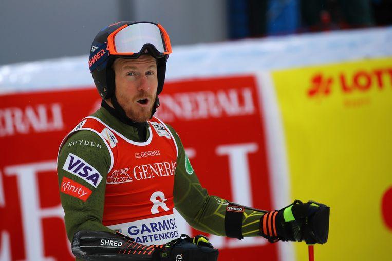 Ted Ligety vorig jaar in actie in Garmisch Partenkirchen. Beeld AP