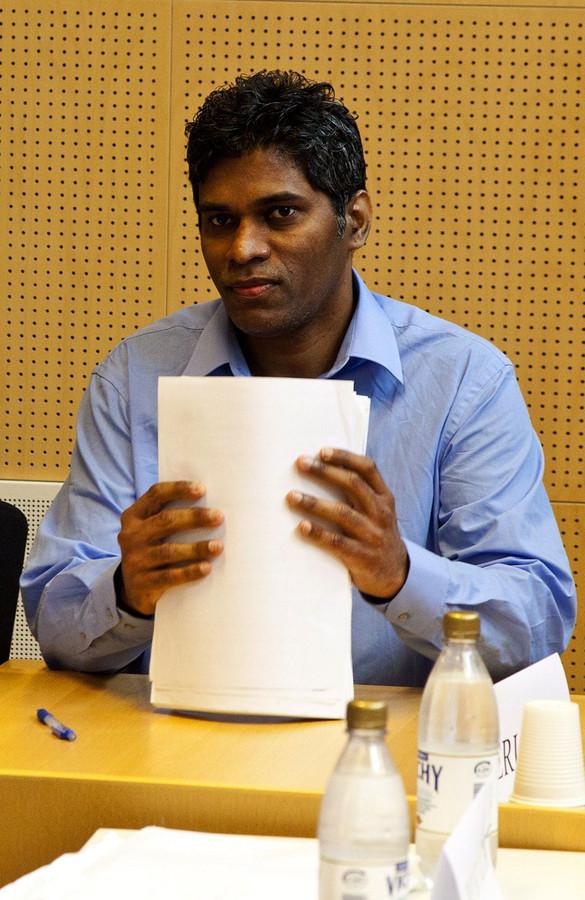 Wilson Raj Perumal in een Finse rechtbank in 2011.
