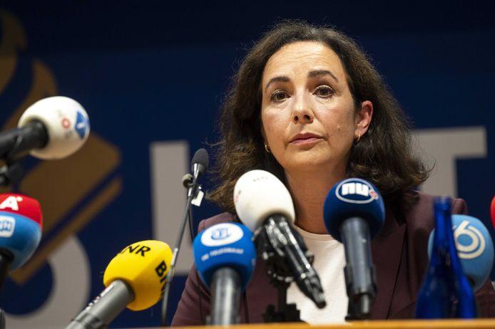 Burgemeester Femke Halsema tijdens de persconferentie op het hoofbureau van de politie aan de Elandsgracht.