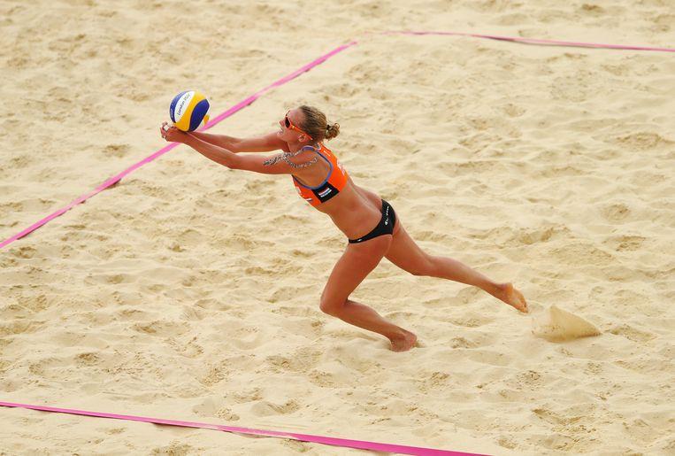 Beachvolleybalster Sanne Keizer. Beeld Getty Images