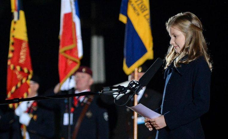 Prinses Elisabeth gaf in 2014 als twaalfjarige bij de WO I-herdenking Lichtfront een korte toespraak in de drie landstalen.