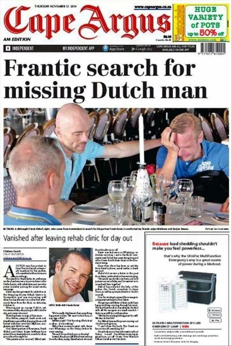 De zaak haalt ook de Zuid-Afrikaanse kranten. Beeld Cape Argus