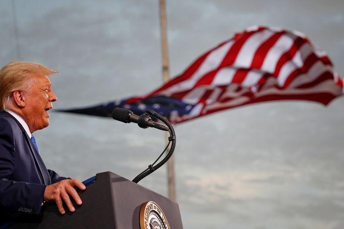 De Amerikaanse president Trump tijdens een verkiezingsrally in september vorig jaar. Hij zou zijn nieuwe partij naar verluidt de 'Patriot Party' willen noemen.