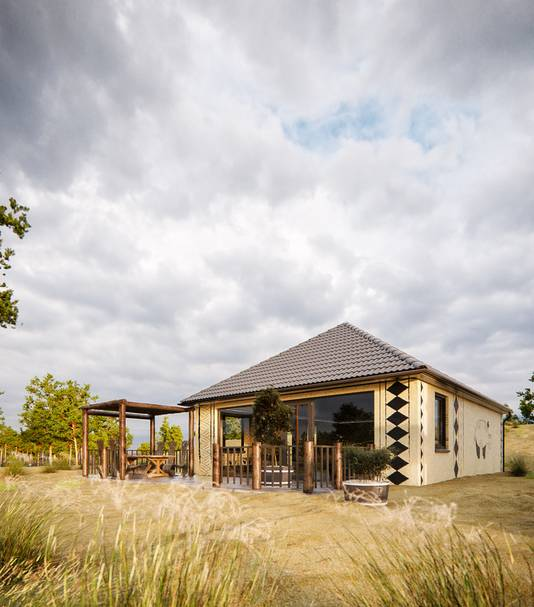 Een impressie van de bungalows op het nieuwe Safari resort in de Beekse Bergen in Hilvarenbeek.