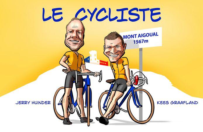Jerry Huinder en Kees Graafland maken de nieuwe podcast Le Cycliste op en rond de Mont Aigoual.