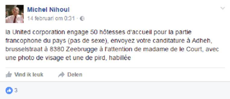 Het Facebookbericht. Beeld RV