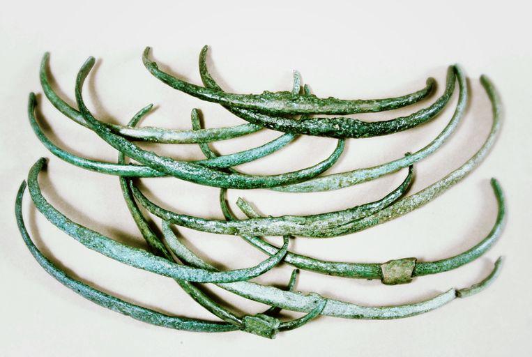 Bronzen ribben die in de bronstijd gebruikt werden als een vroege vorm van geld. Deze ribben werden gevonden in Tsjechië. Beeld Helena Motyckova