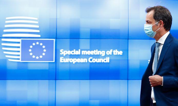 Premier Alexander De Croo (Open Vld) op de Europese top.