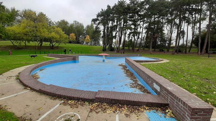 De verouderde spartelvijver de Paddenstoel in het Wantijpark in Dordrecht.