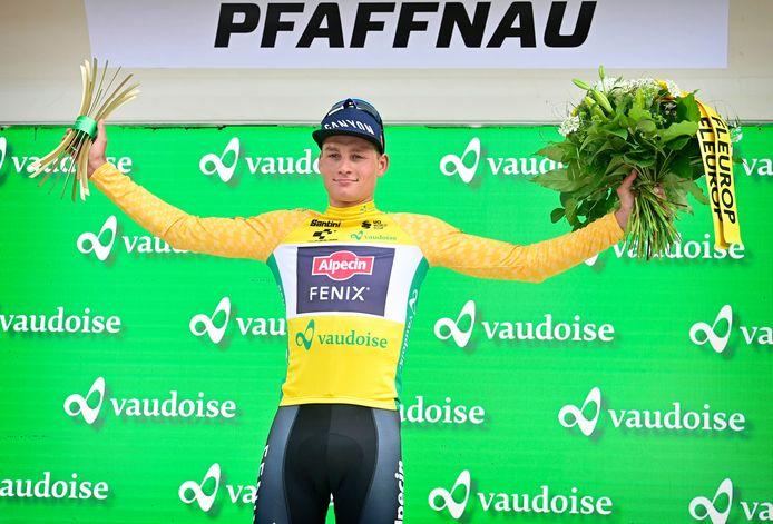 Mathieu van der Poel in de gele trui in de Ronde van Zwitserland. Straks ook in de Tour de France?