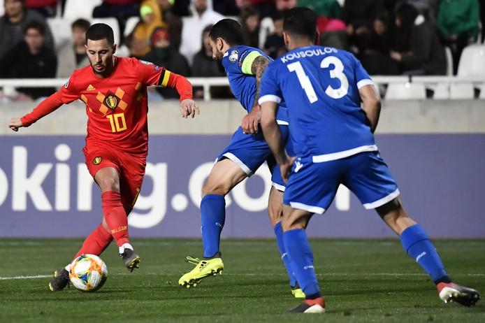 Eden Hazard in actie tegen Cyprus.