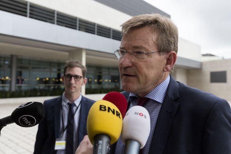 Johan Van Overtveldt bij de eurogroepvergadering van vorige week. Beeld AFP