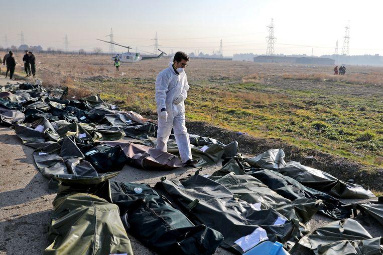 Een onderzoeker overschouwt lijkzakken met de gevonden slachtoffers. Beeld AP