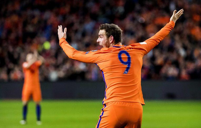 Vincent Janssen tijdens de WK-kwalificatiewedstrijd Nederland - Frankrijk. Beeld ANP
