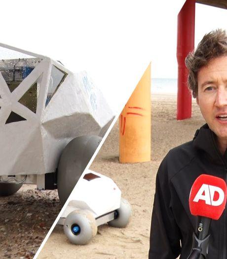 Deze robot snuffelt over het strand op zoek naar afval: 'Hij gaat heel langzaam, maar dat is de bedoeling'