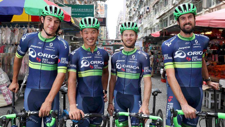 Robert Power hier links op de foto met zijn ploegmakkers Cheung King Lok, Christian Meier en Sam Bewley. Beeld Photo News