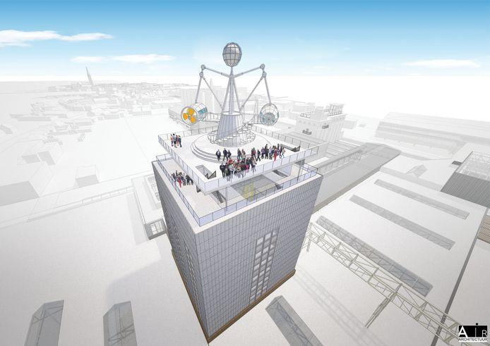 De NPF-toren. Bovenop op de chocoladefabriek komt een dakterras met een soort zweefmolen.