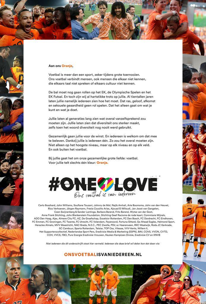 De open brief van de KNVB. 'We zijn allemaal oranje.'