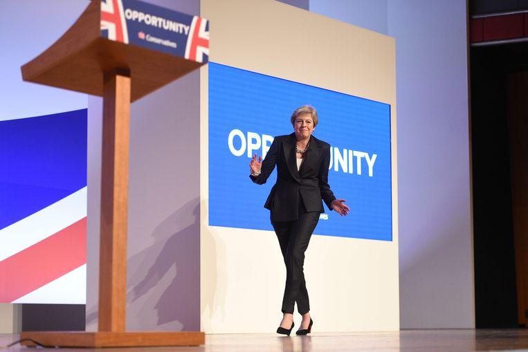 Ex-premier Theresa May vorig jaar in Birmingham. Beeld AFP