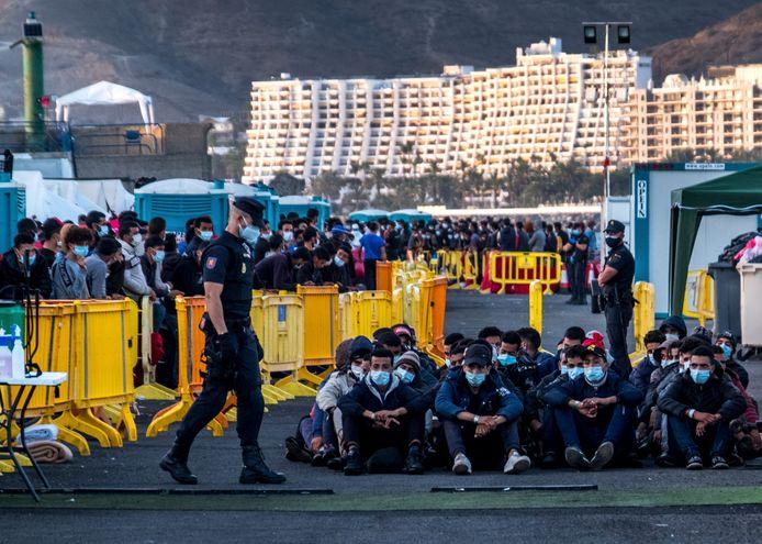 Migranten op Gran Canaria. Beeld van oktober.